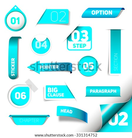 Set of blue vector progress step icons, version, labels, stamps, stickers, corners, tags - vector - stock vector