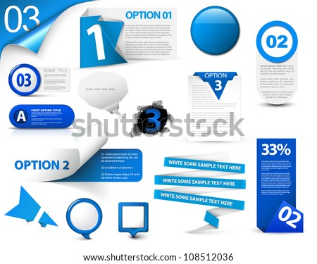 Set of blue vector progress, version, step icons - stock vector