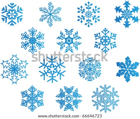set of blue vector snowflakes