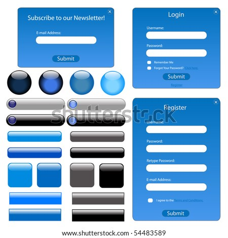 Set of blue web forms and buttons. - stock vector