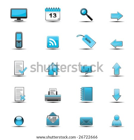 Set of blue web glossy icons - stock vector
