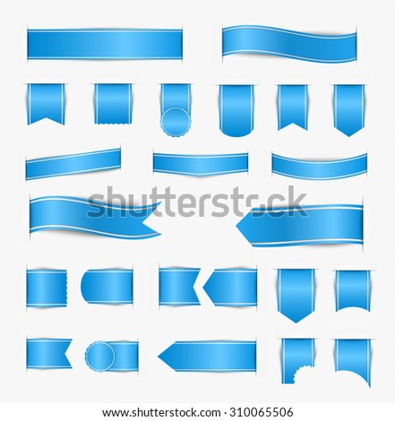Set of blue web ribbons of different shapes with shadow. Vector illustration - stock vector