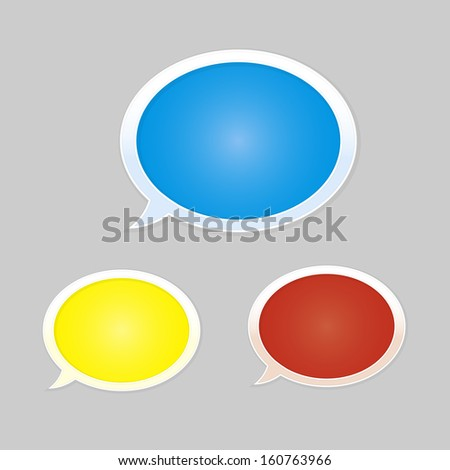 Set of blue, yellow and red glossy blank speech bubbles / speech bubbles / The communication