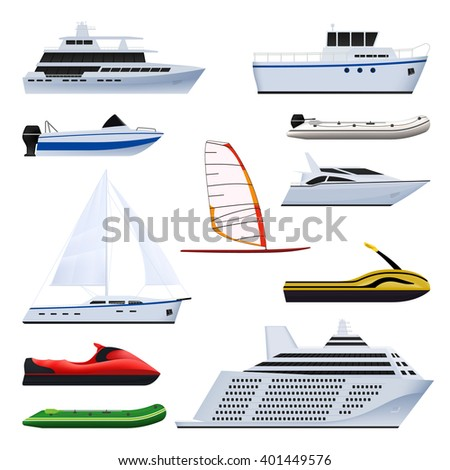 Set of boat. Sailing and motor boats, yacht, jet ski, boat, motor boat, cruise ship, windsurfing. Isolated on white background. - stock vector