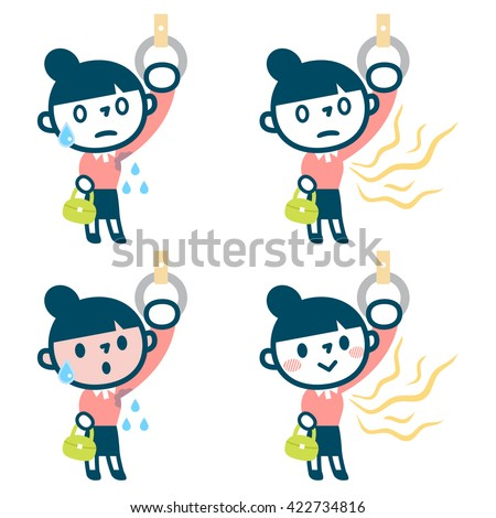 Set of body odor women - stock vector