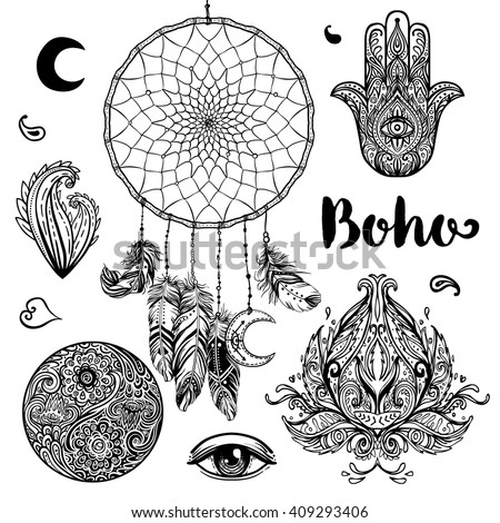 Set of  Boho Chic Style Elements. Vector illustration. Tattoo template. Hand drawn clip art of Native American Indian talisman dream catcher. Tribal collection. Hippie design elements. Zentangle style - stock vector