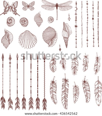 Set of Boho Style  hand drawn elements. - stock vector