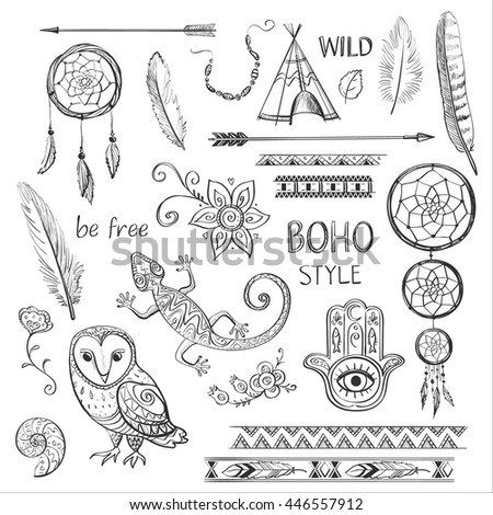 Set of Boho Style hand drawn elements. Templates for invitations, scrapbooking. Hippie design elements. For the design in an ethnic style , drawing on textiles - stock vector
