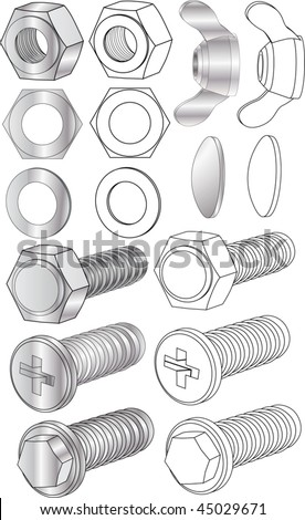 Set of bolts and nuts - stock vector