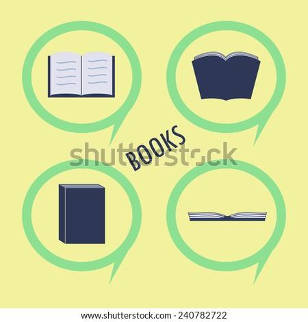 set of book icon flat design - stock vector