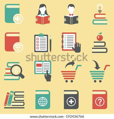 Set of book icons and signs. Vector. - stock vector