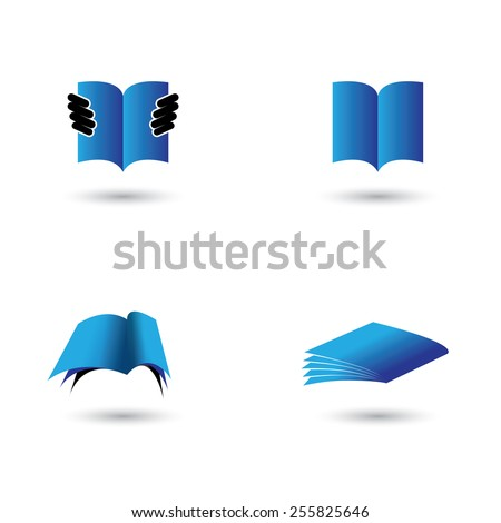 set of book icons in blue color - vector graphic. this also represents school, learning, education, library, ebook, online documents like pdf, doc - stock vector