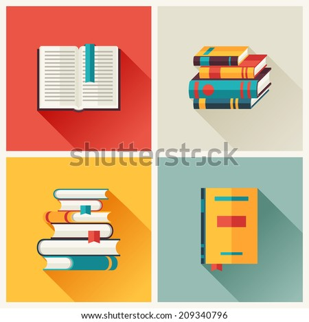 Set of book icons in flat design style. - stock vector