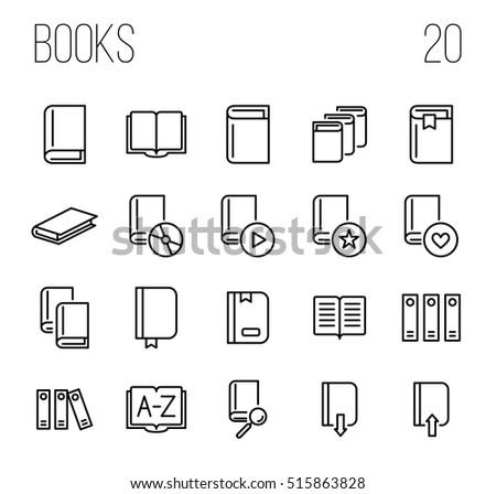 Set Book Icons Modern Thin Line Stock Vector 515863828 Shutterstock