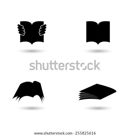 set of book icons silhouettes - vector graphic. this also represents school, student, learning, education, library, ebook, online documents like pdf, doc - stock vector