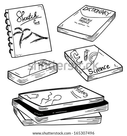 set of book in doodle style - stock vector