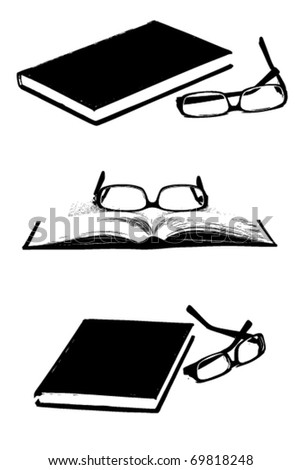 Set of books and glasses silhouettes - stock vector