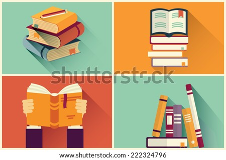 Set of books in flat design, vector illustration - stock vector