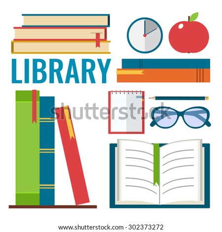 Set of books with apple, glasses and note-book. Library and education concept. Flat style vector illustration. - stock vector