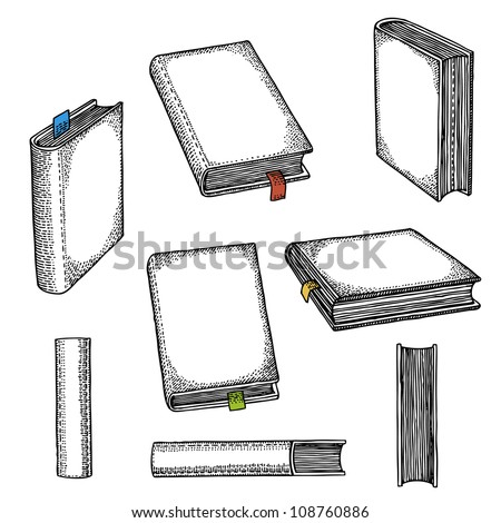 Set of books with bookmarks - stock vector