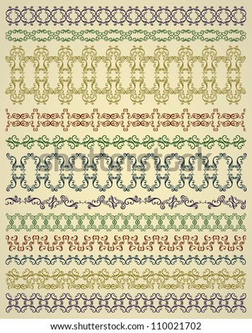Set of borders, abstract floral curves design