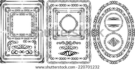 set of borders and frames - design elements - stock vector