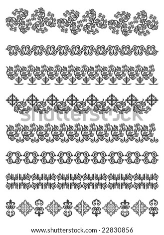 Set of borders, embroidery cross, vector illustration .