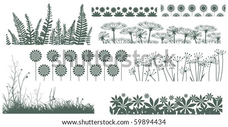 Set of borders with different plants - stock vector