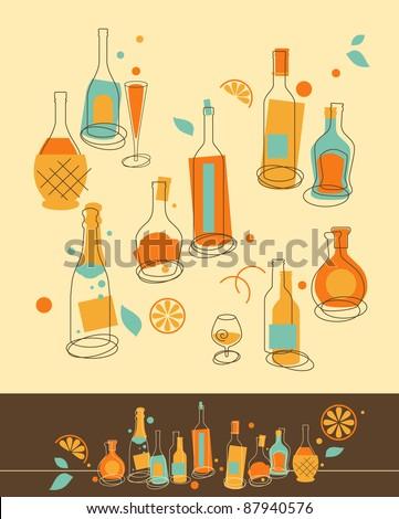 Set of Bottle in Retro-Styled - stock vector