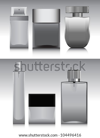 Set of bottles for perfume - stock vector