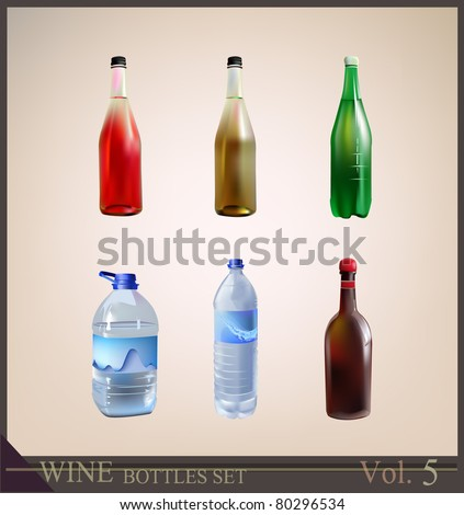 set of bottles  mineral soda water - stock vector
