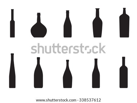 Set of bottles on a white background