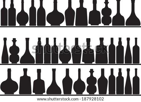 Set of bottles on shelves illustrated on white background - stock vector