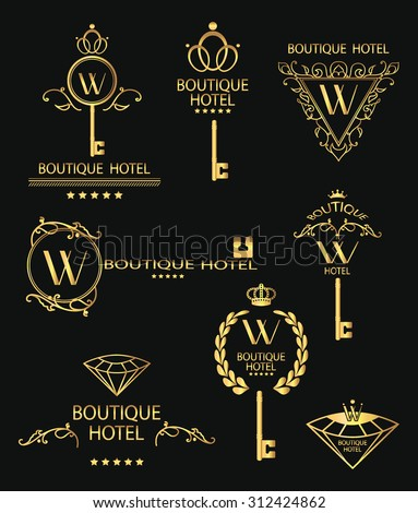 Set of  boutique hotel gold emblems - stock vector