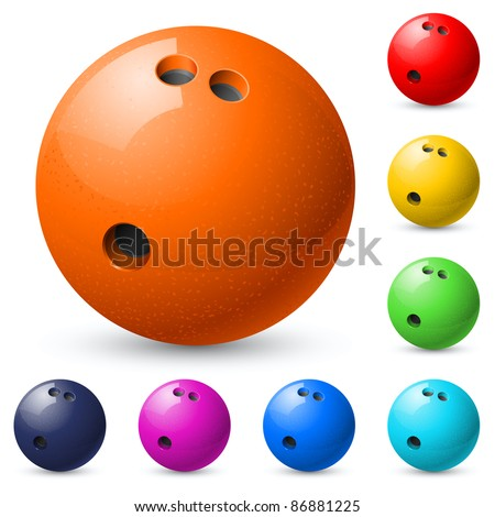 Set of bowling balls. Illustration on white background. - stock vector