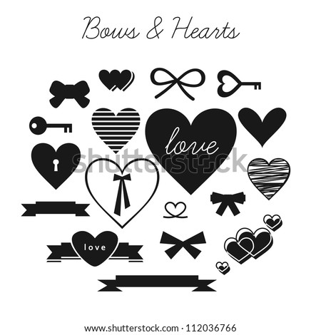 Set of bows and hearts (vector version) - stock vector
