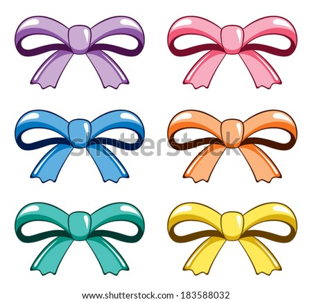 Set of bows, isolated on white