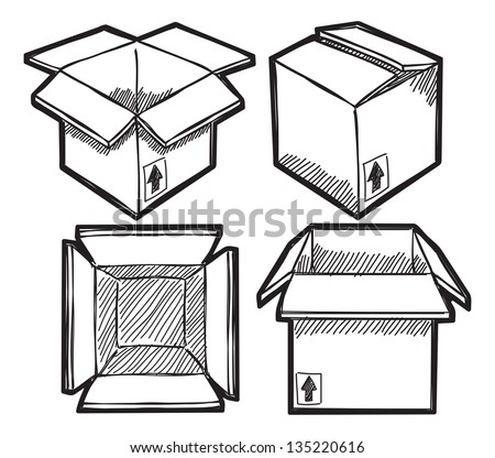Set of box doodle - stock vector