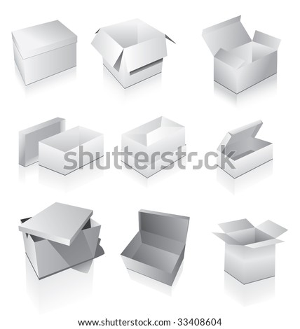Set of boxes - stock vector