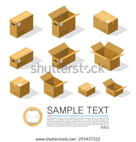 Set of boxes to send isometric. Vector Illustration - stock vector