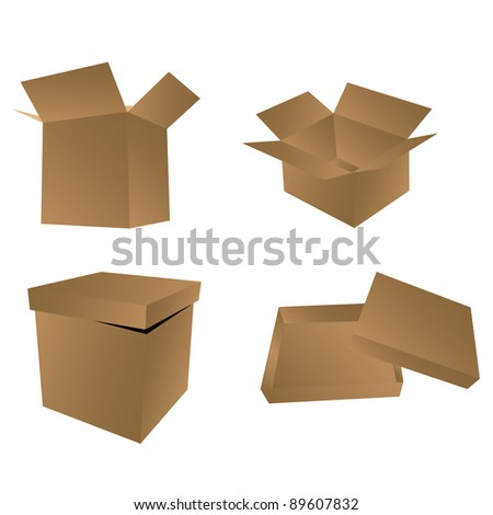 Set of boxes. Vector illustration - stock vector