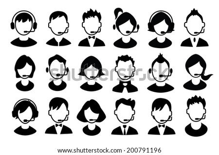 Set of boys and girls operator icons. Vector illustration - stock vector