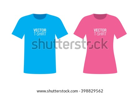 Set of boys and girls short sleeve T-shirt templates. Blue and pink vector T-shirts, isolated on background. - stock vector