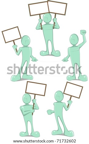 set of boys holding a placards - stock vector