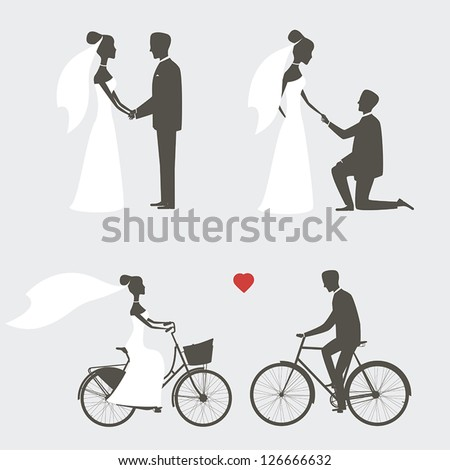 Set of bride and groom poses for wedding invitation - stock vector