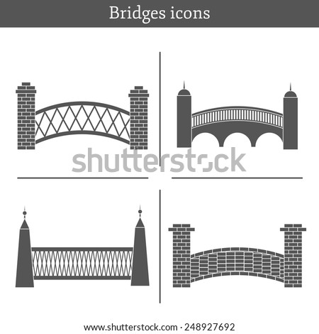 Set of bridge icons for your design - stock vector