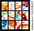 Set of bright abstract backgrounds. Business card.Vector design eps 10 - stock photo