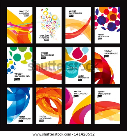 Set of bright abstract backgrounds. Business card.Vector design eps 10 - stock vector