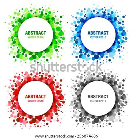 Set of  Bright Abstract Circles Frames Design Elements, vector illustration  - stock vector
