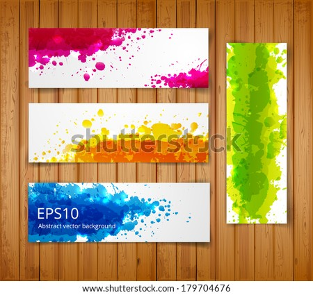 Set of bright abstract paper-cut banners. Vector illustration  - stock vector